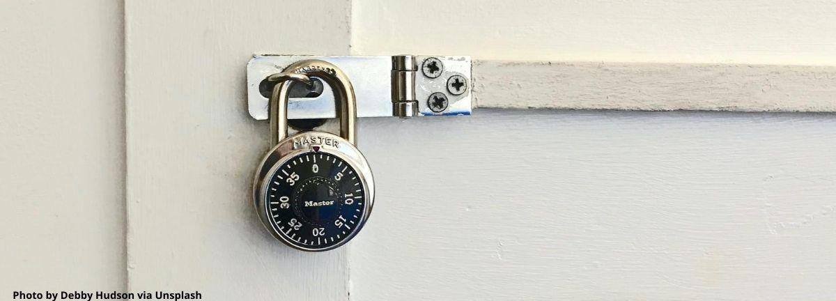 lock on a cabinet door