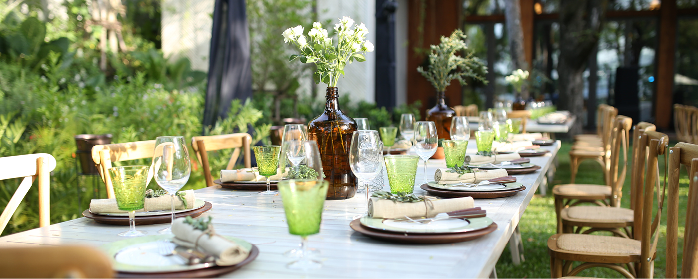 Outdoor table with multi-course plate setting