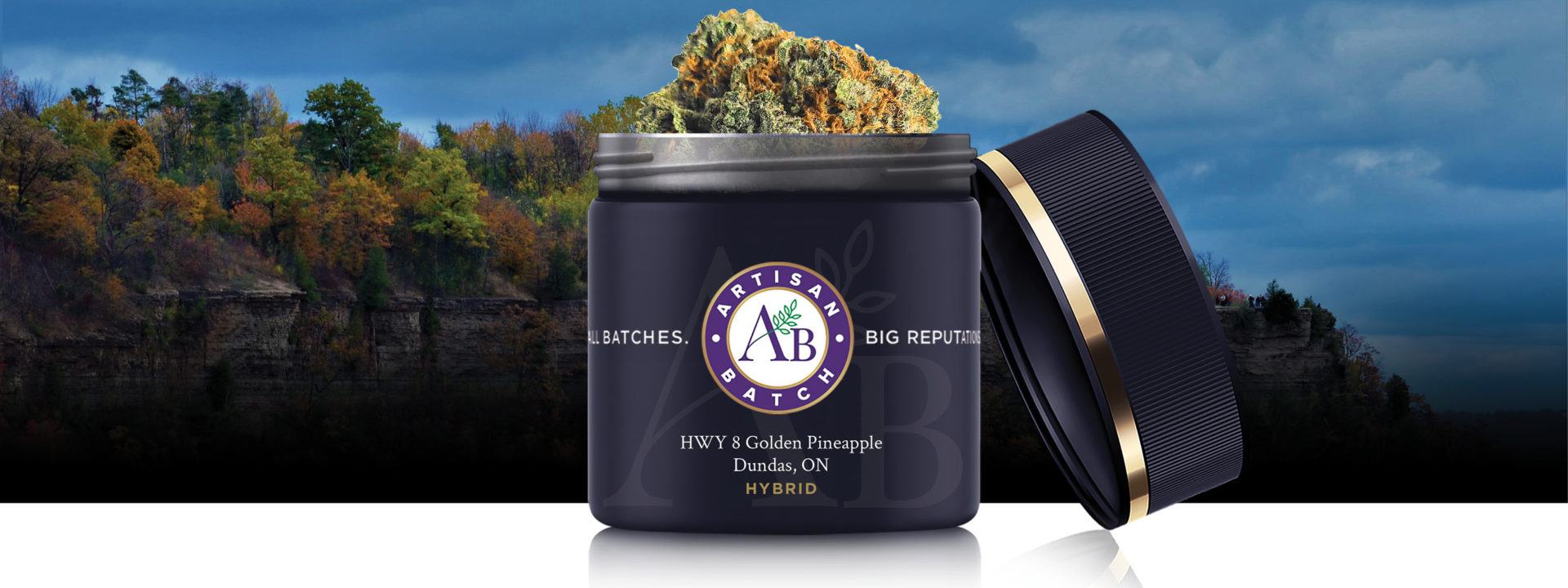 Blue jar of Artisan Batch HWY 8 Golden Pineapple, with strain name in gold text, lid off jar and bud sticking out. Background image is a rocky cliff with fall coloured maple trees.